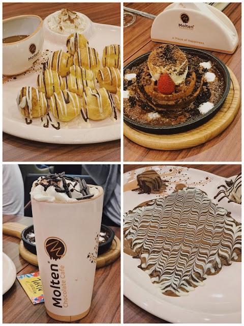 menu molten chocolate cafe