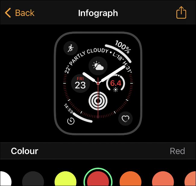 مشاركة وجه Apple Watch