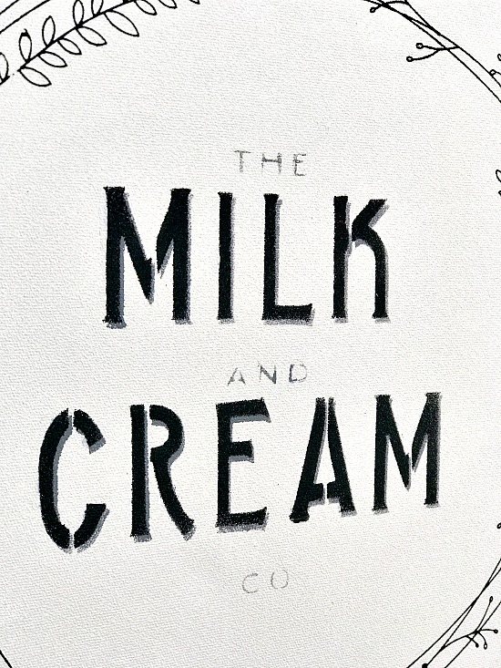 Milk and cream double stencil technique