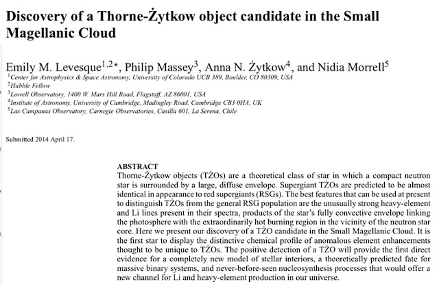 Possible discovery of TZO candidate in 2014  (Source: Emily Levesque, arXiv: 1406.0001v1)