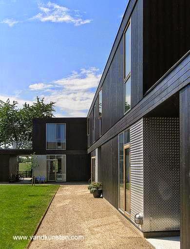 Perspectiva de una construcción residencial prefabricada de Dinamarca