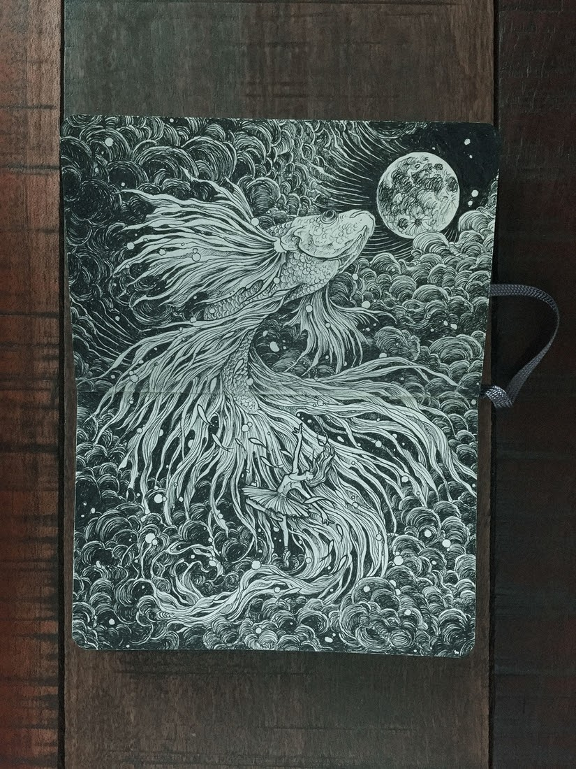 04-Ballet-in-the-Clouds-with-a-Fish-Kerby-Rosanes-Detailed-Moleskine-Doodles-with-many-Whales-www-designstack-co