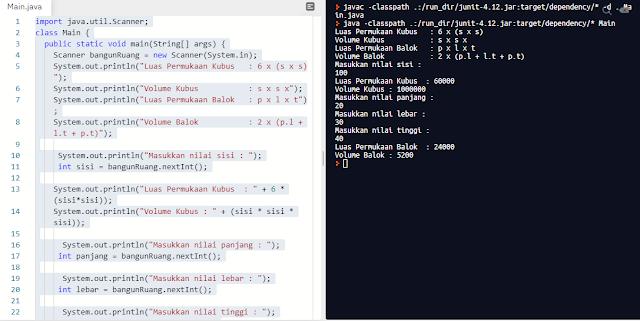 Program Menghitung Kubus dan Balok Java Menggunakan Input Scanner