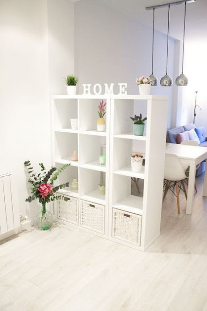 Ikea hack for Kallax shelving as room divider - found on Hello Lovely Studio