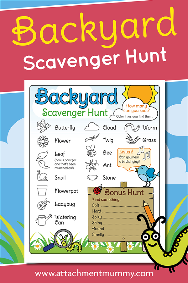 Fun Sensory Garden / Backyard Scavenger Hunt for Kids ...