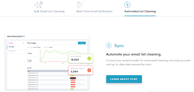 neverbounce email list cleaning tool by connecting with the email provider