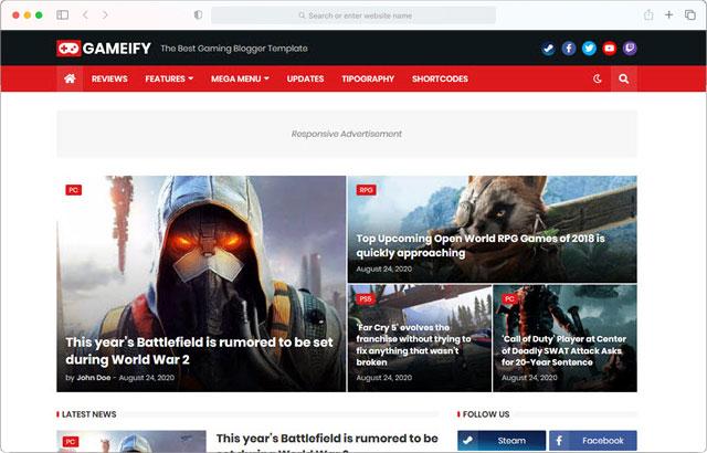 Gameify - Premium Blogger Template