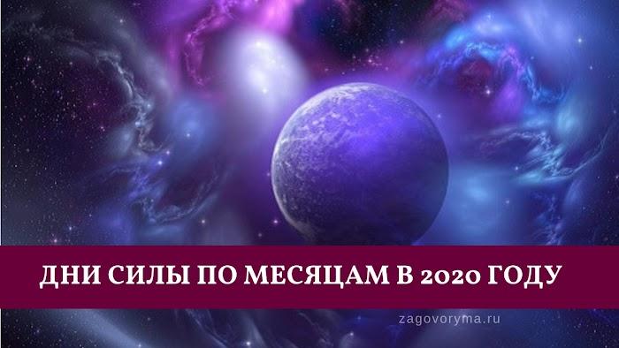 Дни силы по месяцам в 2020 году