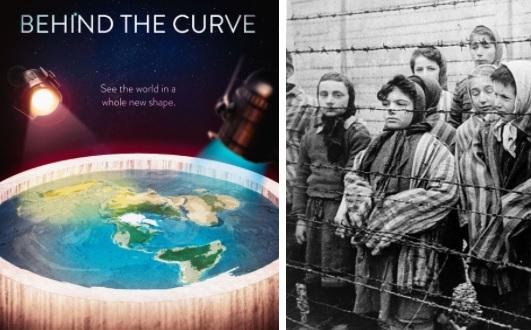 Cartaz de documentário da Netflix sobre terraplanistas e foto de prisioneiros de campo de concentração nazista. Café com Jornalista