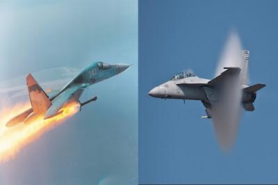 Jet Tempur F/A-18 AS Nyaris Bentrok Dengan Pesawat Jet Tempur Su-34 Rusia di Langit Suriah