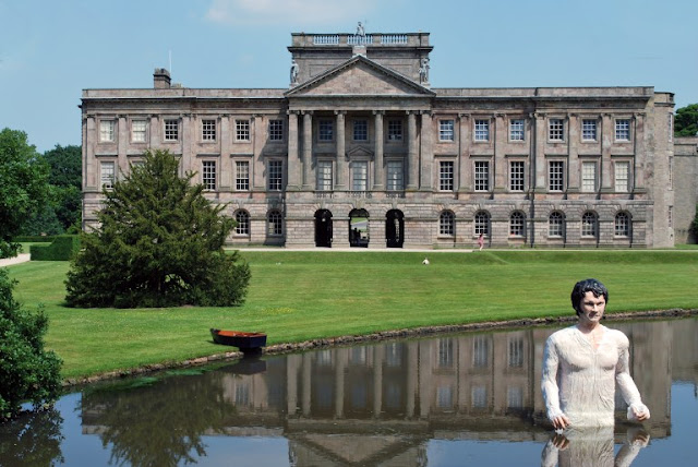 A sculpture of Colin Firth as Mr Darcy in the lake at Lyme Park