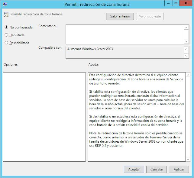 Windows: Zona horaria escritorio remoto