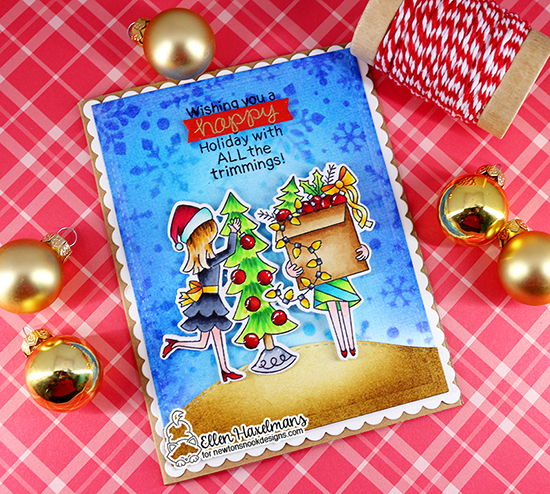 Holiday decorating Card by Ellen Haxelmans | Christmas Trimmings Stamp Set and Snowfall Stencil by Newton's Nook Designs #newtonsnook #handmade