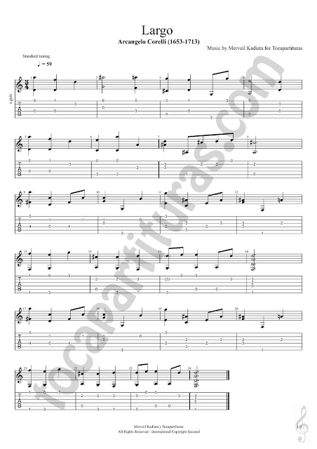 Partitura JPG del Largo de Corelli para Guitarra (Partitura y Tablatura) Fingering Style Easy Tabs Sheet Music for Guitar Beginners, Students and teachers for class of music (Tablature Sheet Music tabs)