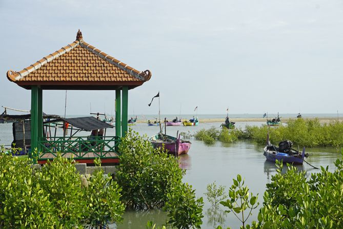 Perahu nelayan di sekitaran pesisir pantai Mangrove Pasarbanggi Rembang