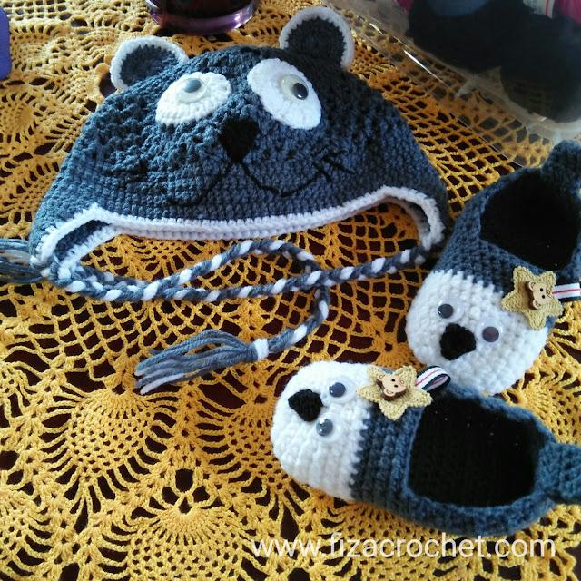 One set topi dan kasut kait