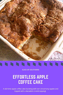Effortless Apple Coffee Cake:  An old-time coffee cake filled with cinnamonly tart apples and topped of with a delightful crumb topping. - Slice of Southern