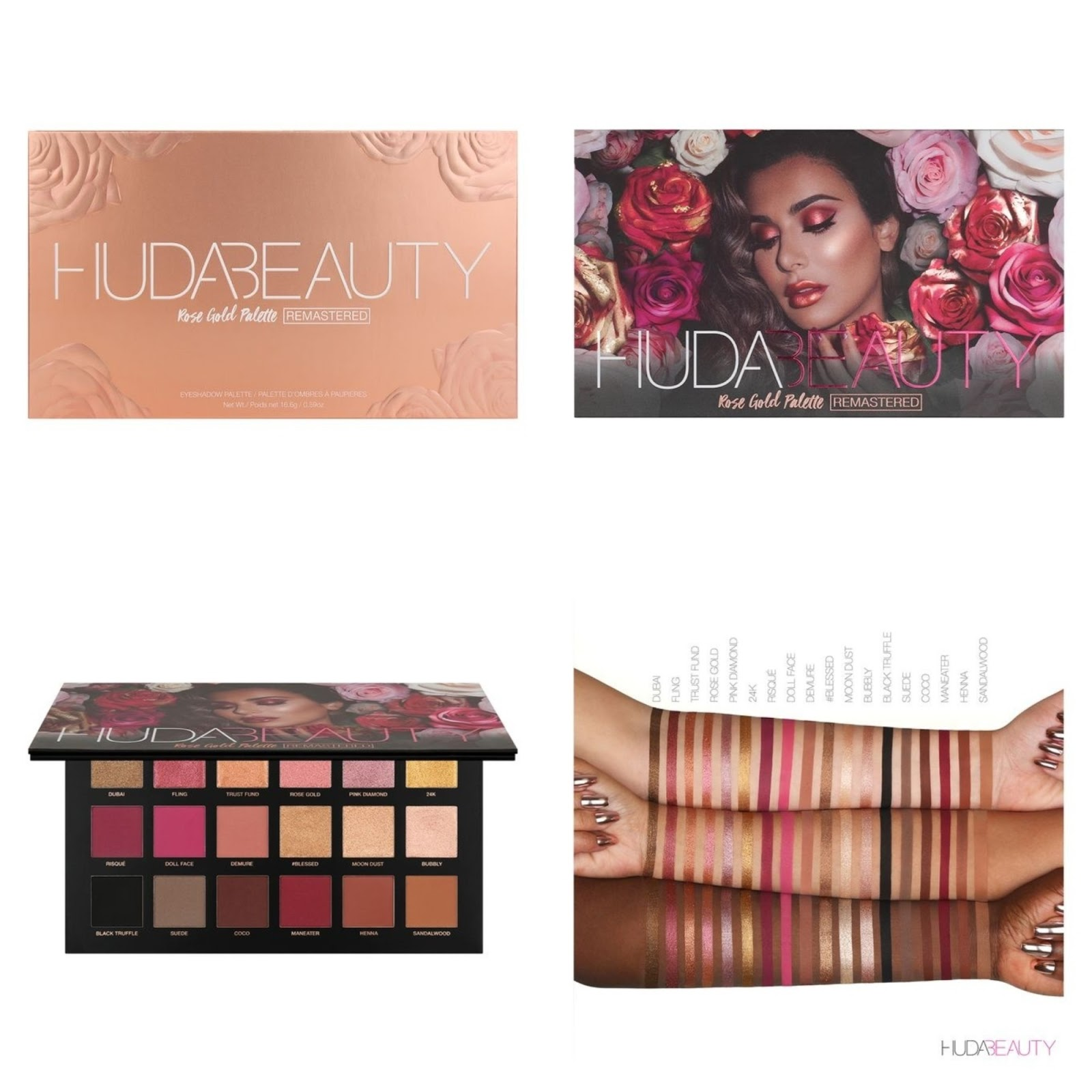 First Look Huda Beauty Rose Gold Remastered Eyeshadow Palette