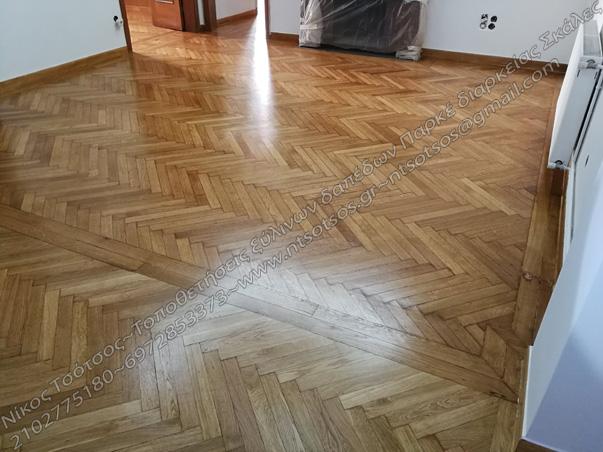 Ξύλινο πάτωμα με βερνίκι οικολογικό σατινέ