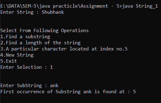 Find A Substring | Find A Length of The String | Find A Particular Character Located At Entered Index Number