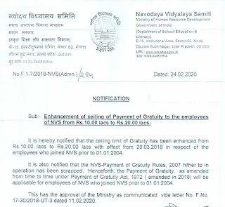 Enhancement of ceiling of Payment of Gratuity to the NVS employees from Rs.10.00 lacs to Rs.20.00 lacs
