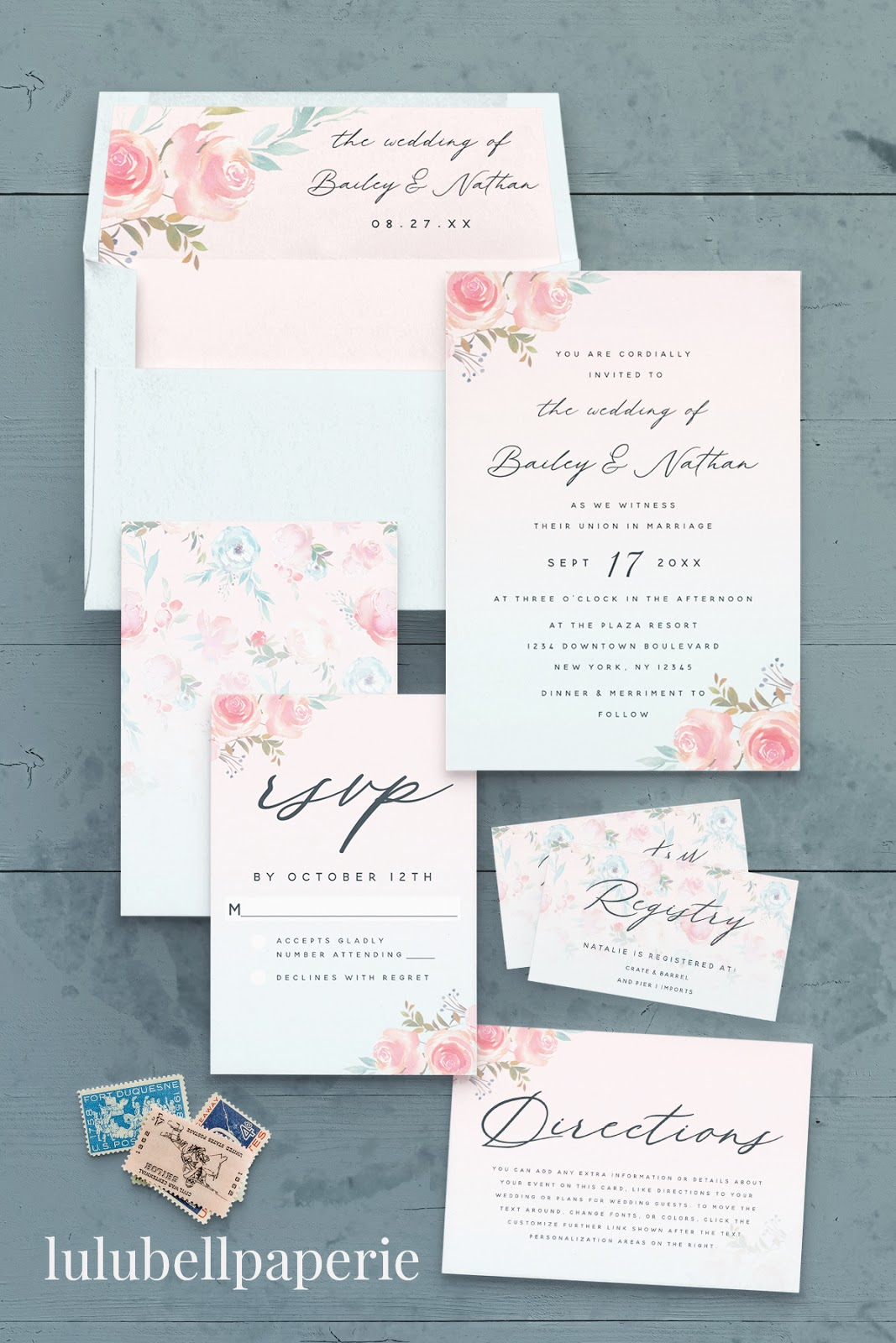 French Garden Floral Wedding Suite - Envelopes and Liners, Wedding Invites, RSVP cards, Gift Registry Inserts, and Directions Enclosure Cards