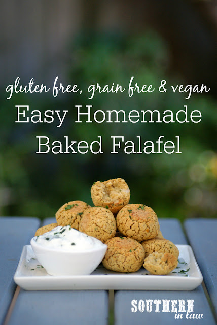 Easy Homemade Baked Falafel Recipe using Canned Chickpeas - low fat, gluten free, grain free, healthy, clean eating, vegan, egg free, dairy free, nut free