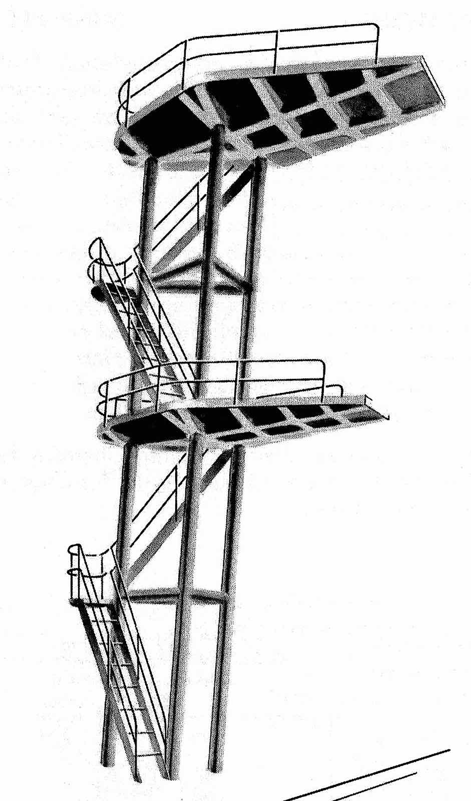 a 1960s high diving tower illustrated