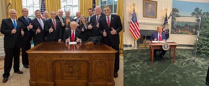 トランプ政権の始まりと終わりの落差😂というジョークの比較の写真‼️