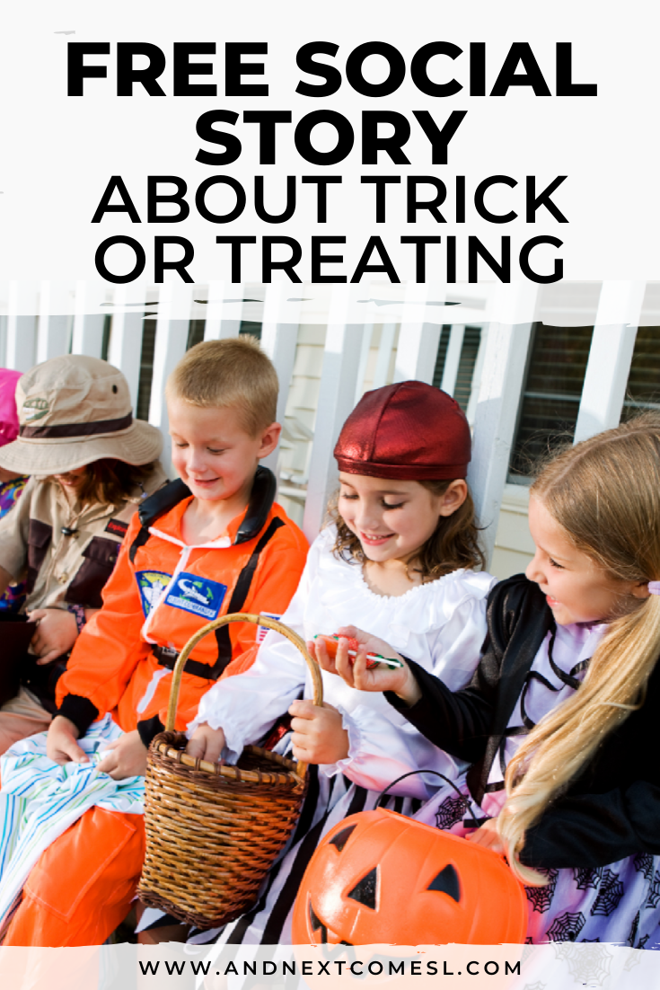 Free printable Halloween social story for kids with autism about trick-or-treating