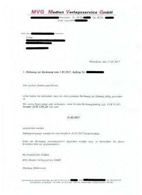 Scan: MVG Medien Verlagsservice GmbH | Rechnung vom 17.05.2017