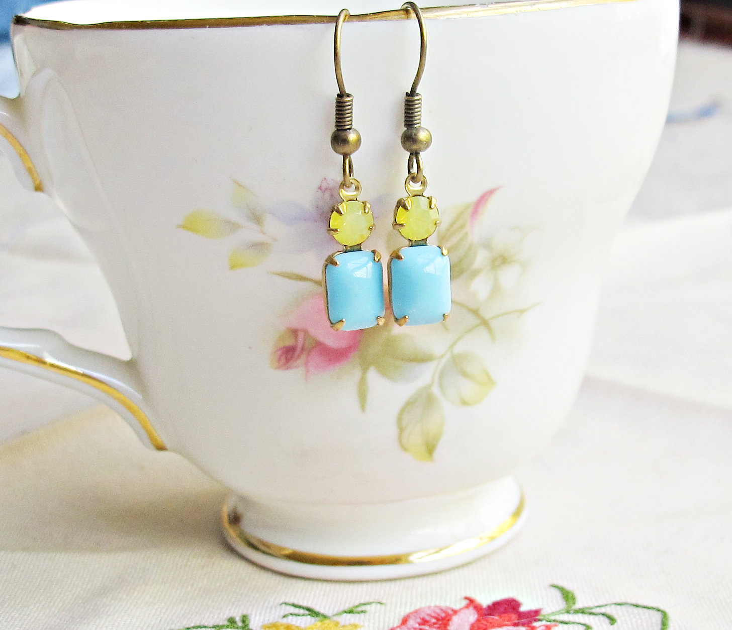 image ibiza earrings lemon yellow lemon zest dusk blue turquoise vintage glass stone brass