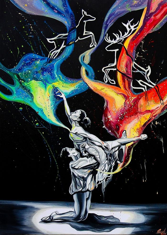 02-Ballerina-Two-Vivien-Szaniszlo-Movement-Captured-with-the-Dancing-Ballerina-Paintings-www-designstack-co