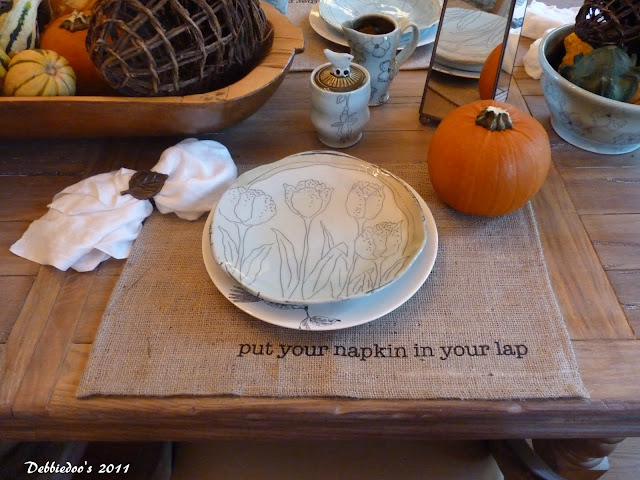 burlap table place settings