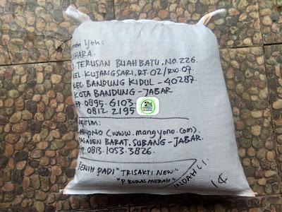 Benih padi yang dibeli   SUHARA Bandung, Jabar.  (Setelah packing karung).