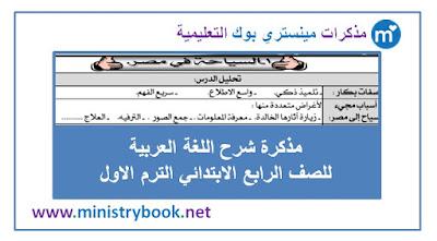 مذكرة شرح اللغة العربية للصف الرابع الابتدائي الترم الاول 2019-2020-2021