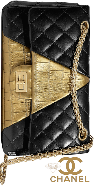 Brilliant Luxury♦Chanel Lambskin Crocodile Embossed Calfskin and Gold-Tone Metal Handbag