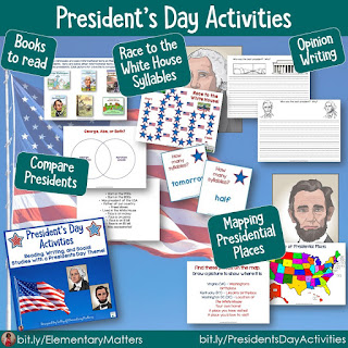 Mapping, comparing, syllables, and opinion writing for presidents day, election day, or any day!