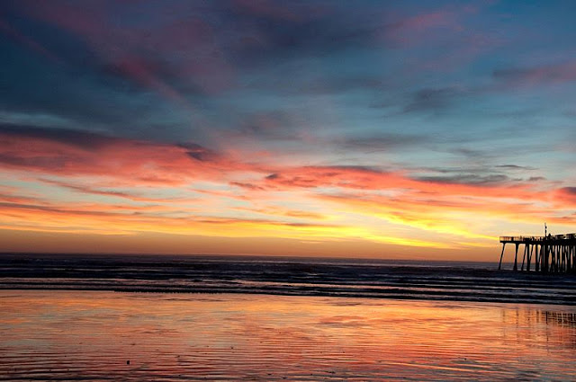 a picture of golden sunset at Pismo Beach
