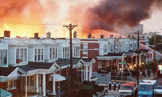 Row houses in Philadelphia burn after policed dropped a bomb on the Move house in May 1985. Photograph: AP