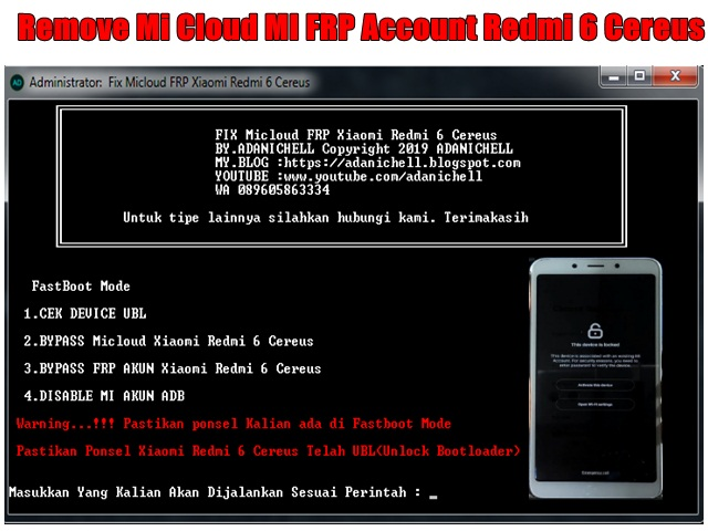 Remove Mi Cloud MI FRP Account Redmi 6 Cereus