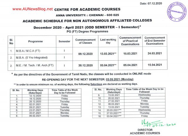 Anna University PG 1st Semester Academic Schedule published Dec 2020 to April 2021