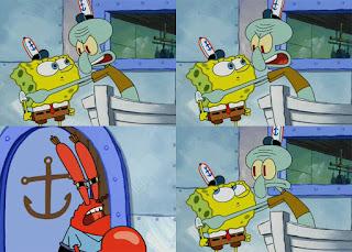 Polosan meme spongebob dan patrick 74 - squidward bisik-bisik ke spongebob