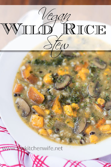 The finished Vegan Vegetable and Wild Rice Stew in a white bowl with the title above.