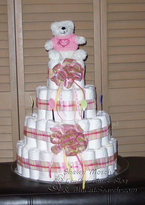 Crafty Chic S Diaper Cake Adding The Decoration