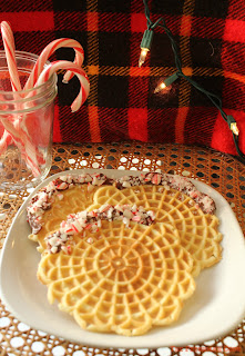 pizzelles, crushed candy canes, chocolate,