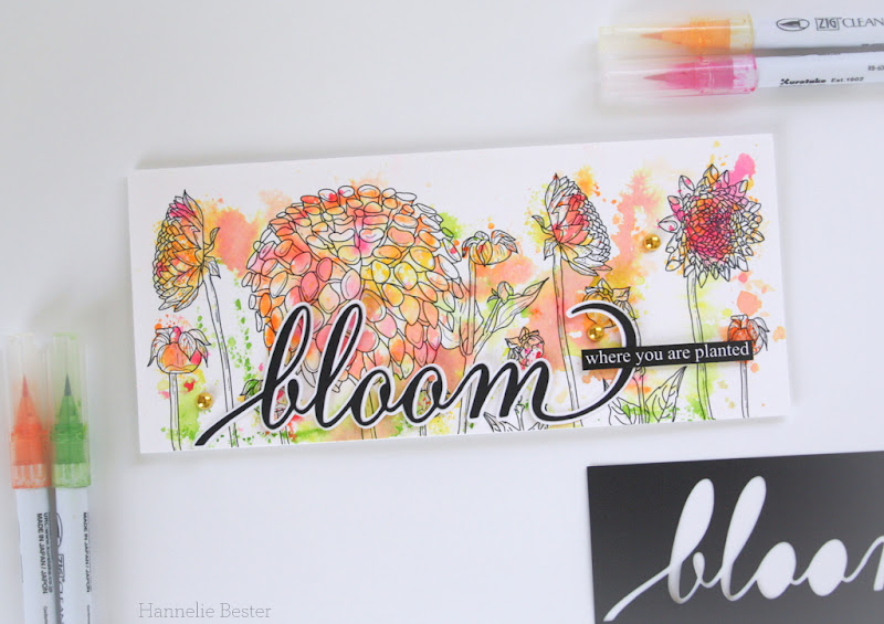 Alex Syberia : Dahlia card - watercolor