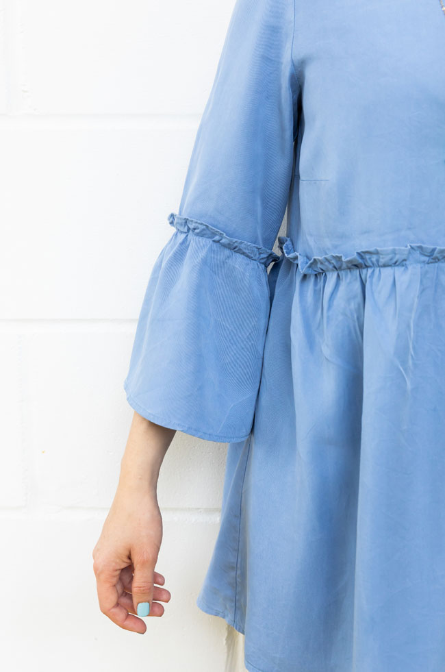 Tilly's blue Tencel Indigo smock - sewing pattern by Tilly and the Buttons