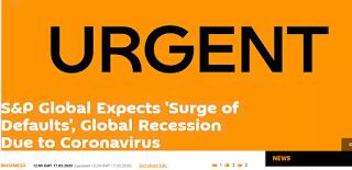 미국 경제 침체 : 코로나바이러스 확산으로 미국 비금융 기업 10% 정도 파산 예상