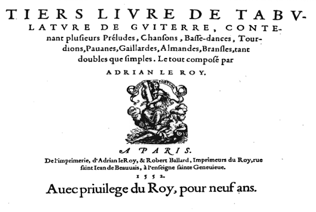 Title page of Le Roy: Renaissance guitar tablature